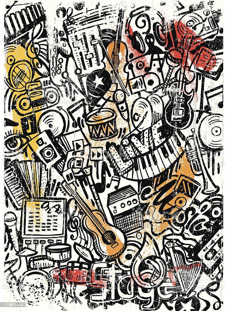 music doodle scratch vector art illustration