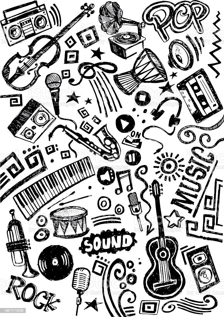 Music doodle royalty-free stock vector art