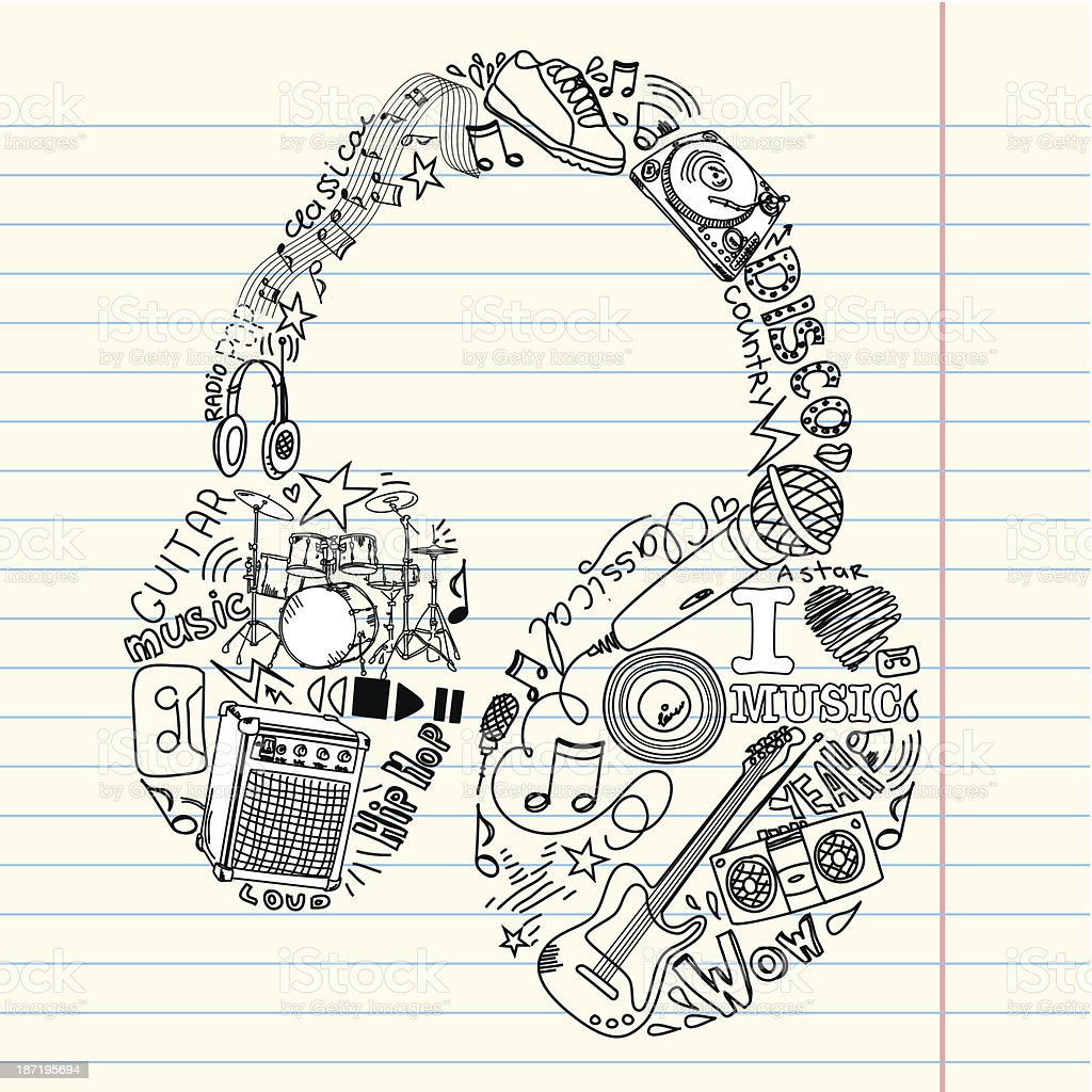 Music doodles in the shape of a earphones royalty-free stock vector art