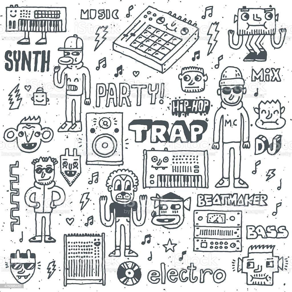 Music Electronic Style Funny Wacky Doodle Set 1. vector art illustration