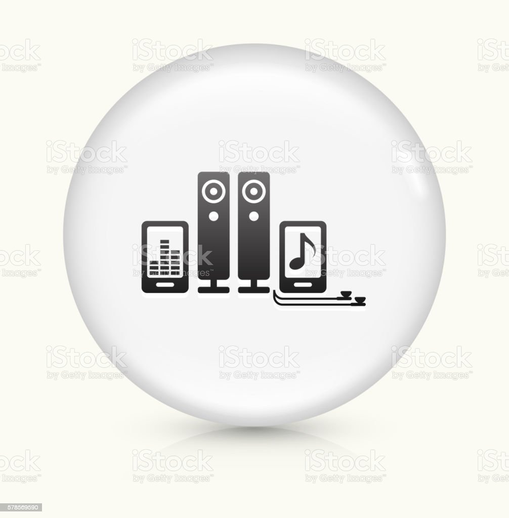 Music Electronics icon on white round vector button vector art illustration