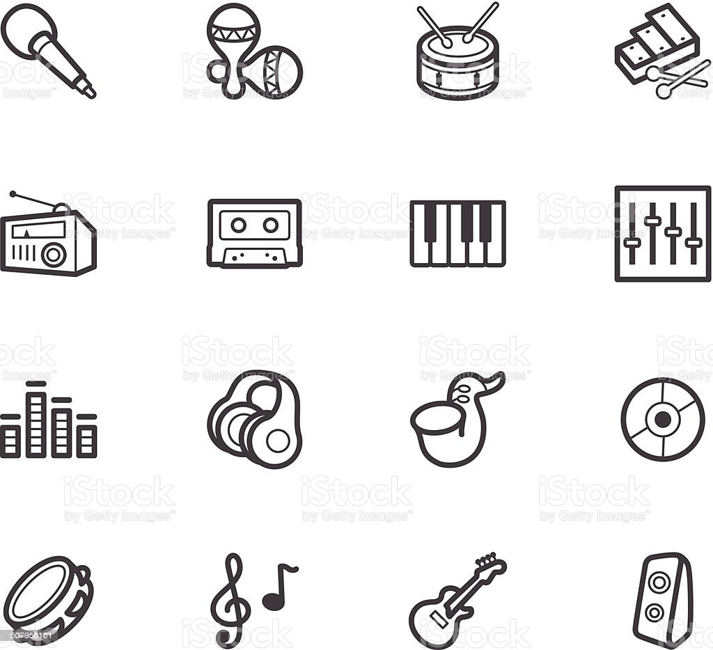 music element vector black icon set on white background royalty-free stock vector art