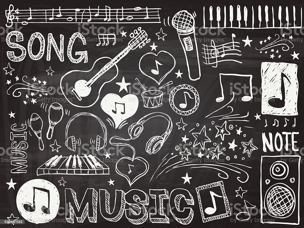 Music elements sketch vector art illustration