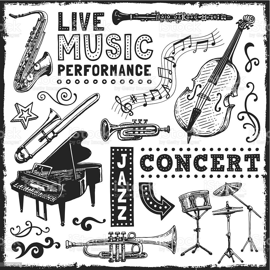 Music Elements vector art illustration