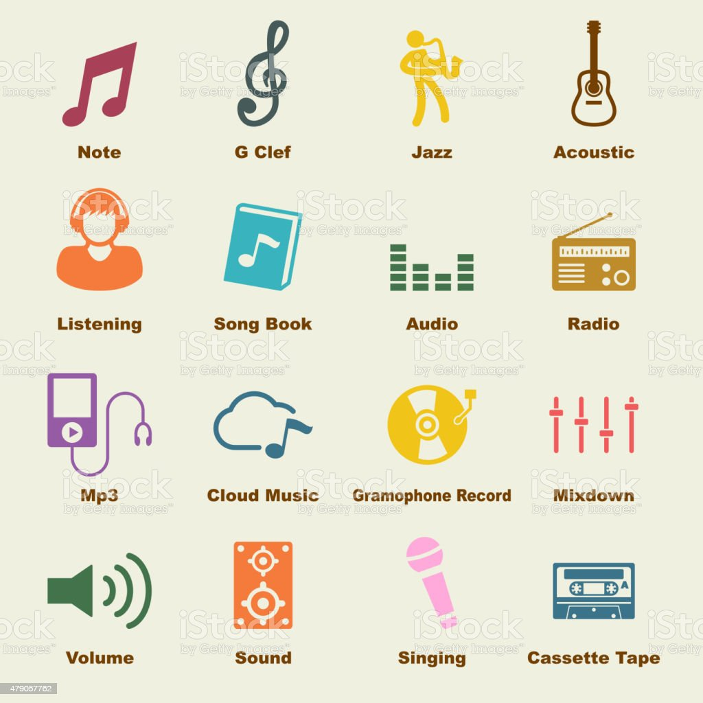 music elements vector art illustration