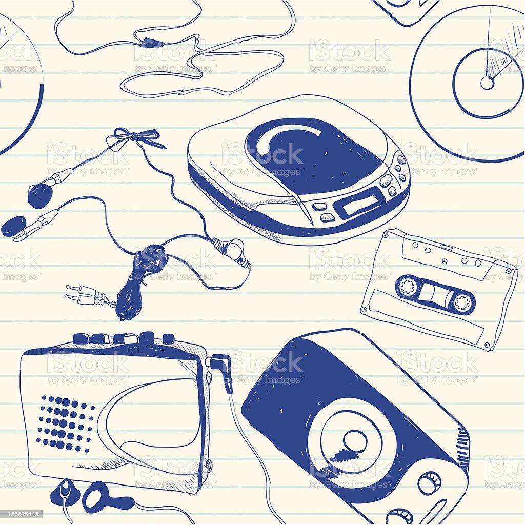 music equipment doodles royalty-free stock vector art