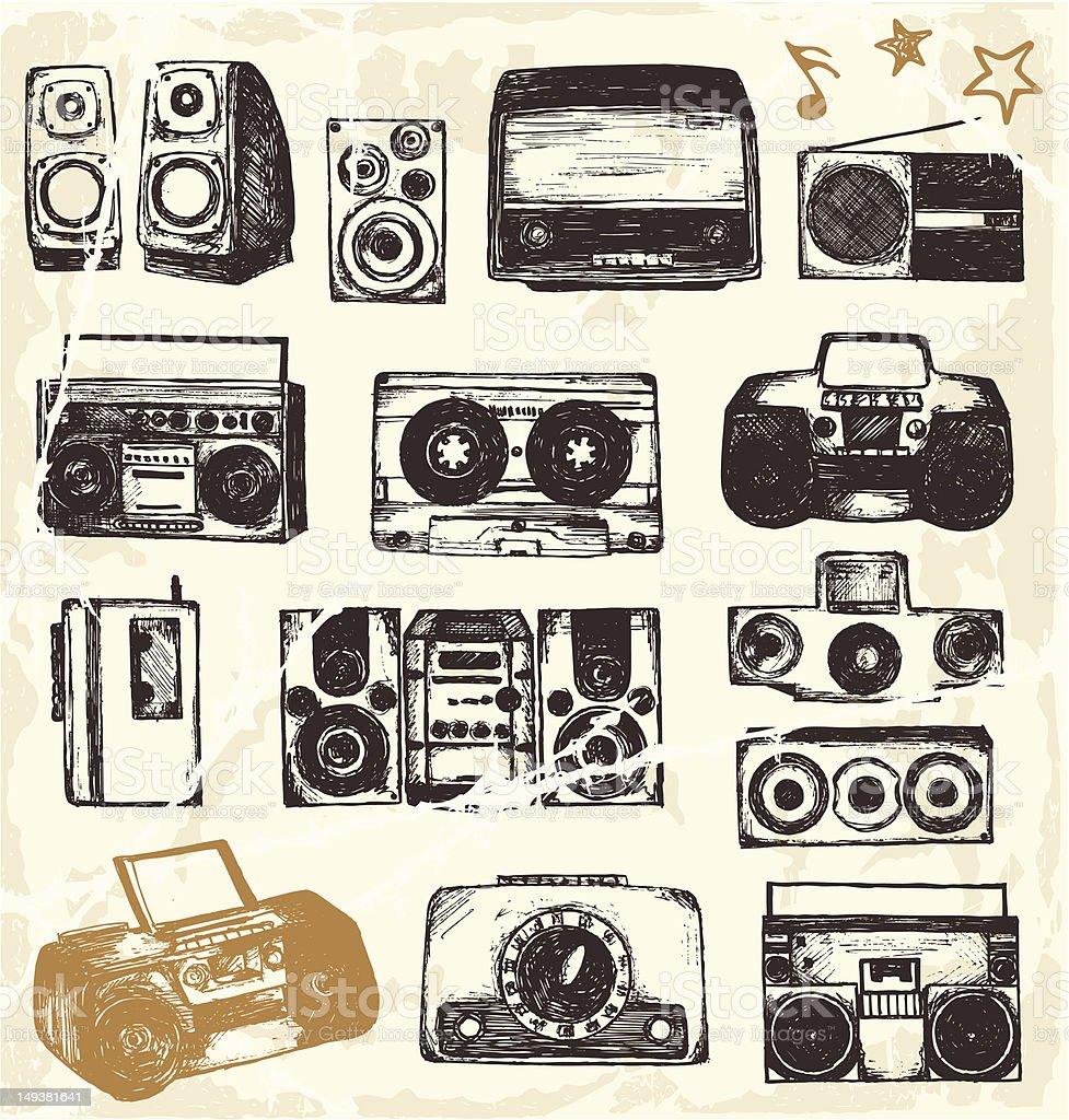 Music equipment vector art illustration