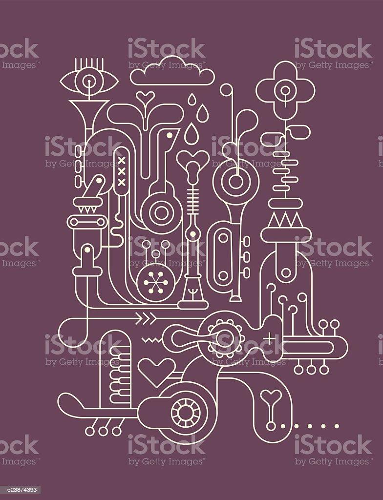 Music factory vector art illustration