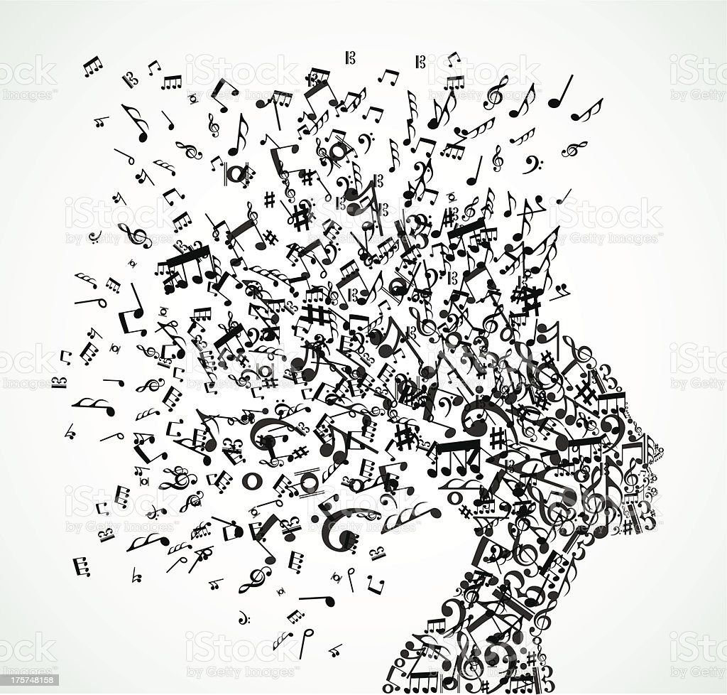 Music fanatic woman vector art illustration