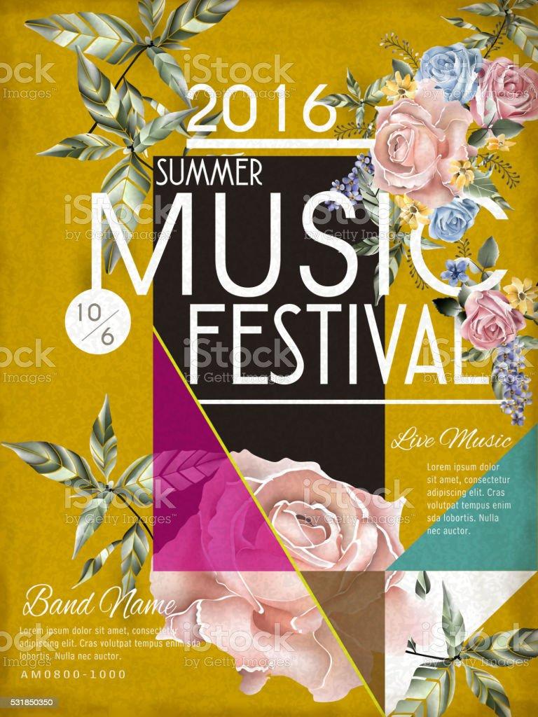music festival poster design vector art illustration