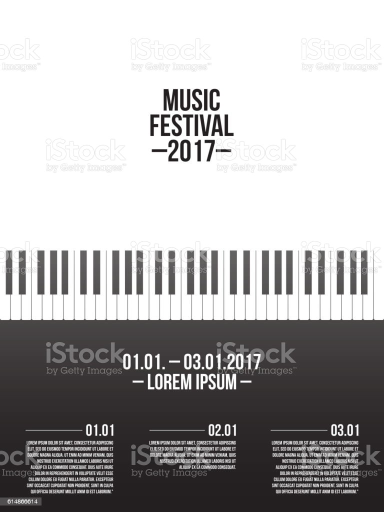 Music festival poster template with piano keyboard vector art illustration