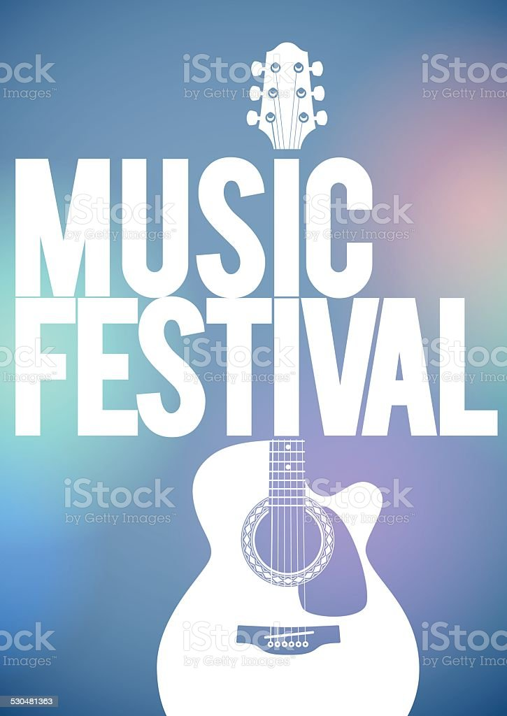 Music Festival poster with acoustic guitar. vector art illustration