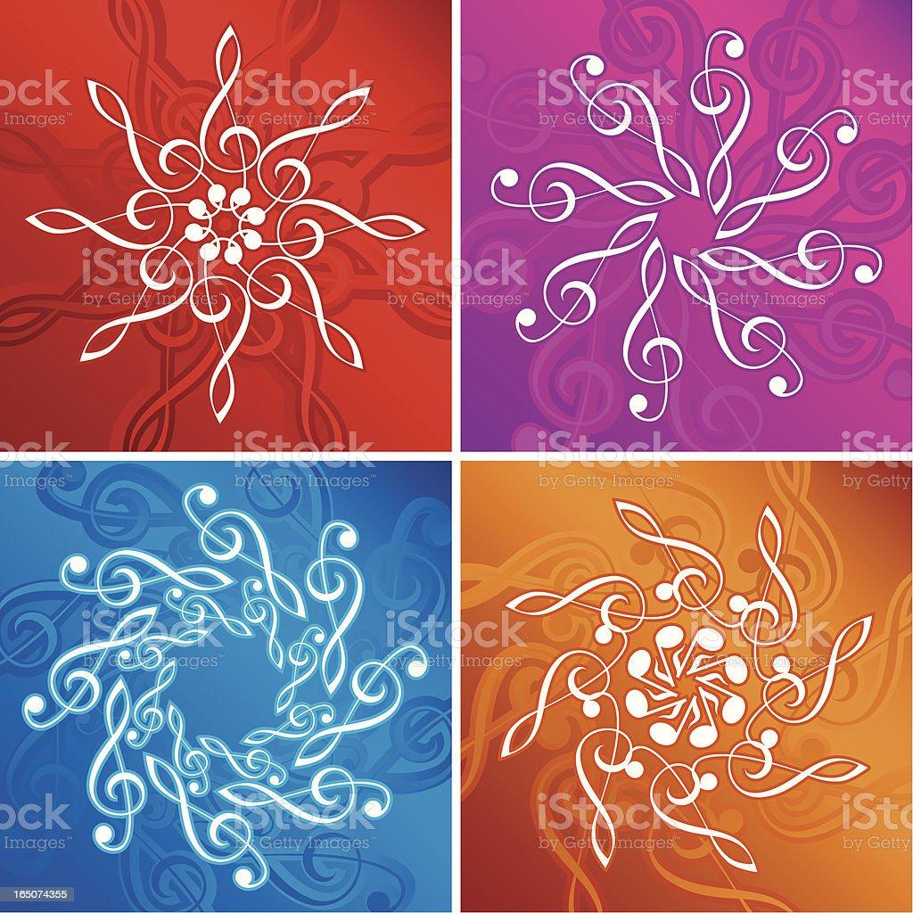 Music flakes vector art illustration