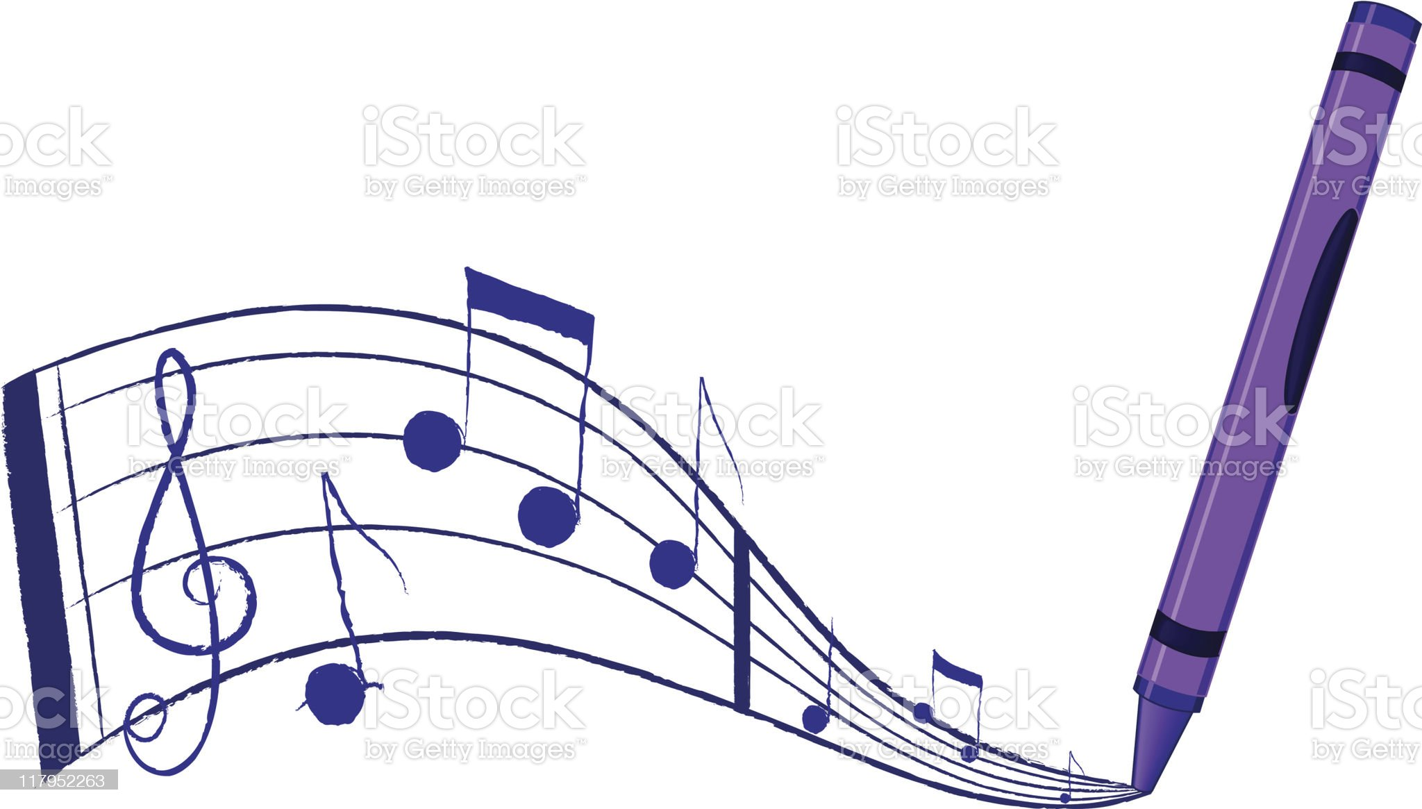 Music flowing from a crayon royalty-free stock vector art