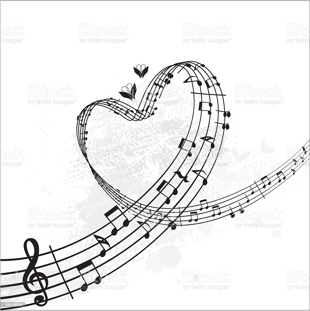 music from heart banner vector art illustration