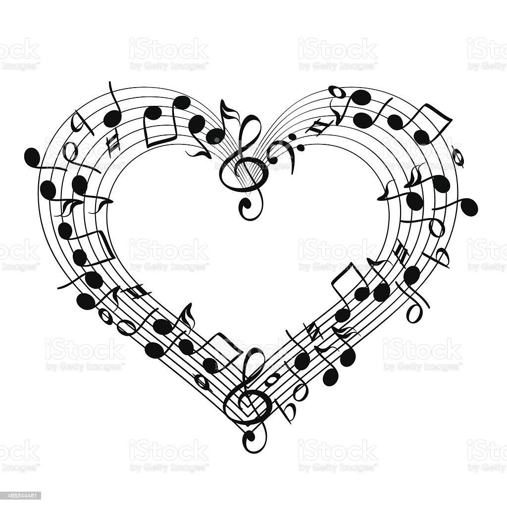 music from heart sketch cartoon vector illustration vector art illustration