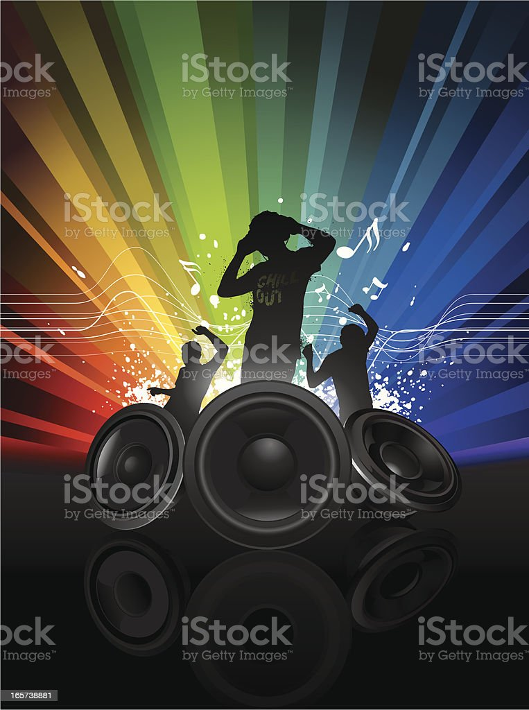 Music graffiti featuring a DJ with two dancer royalty-free stock vector art