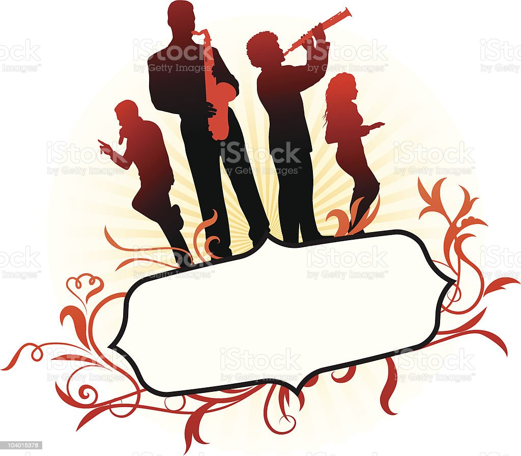 music group on abstract background royalty-free stock vector art