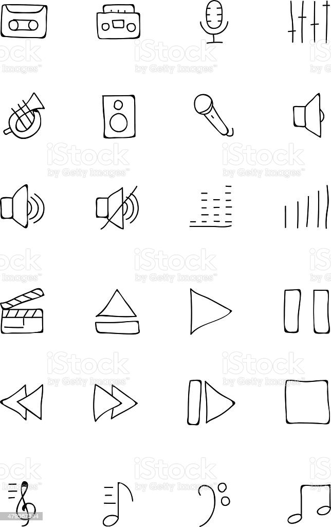 Music Hand Drawn Doodle Icons 1 vector art illustration