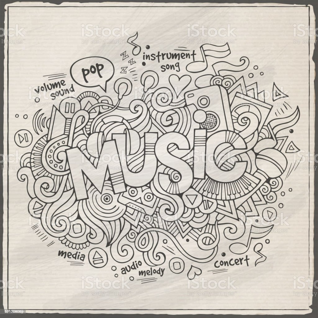 Stock vector music hand lettering and doodles elements - Music Hand Lettering And Doodles Elements Background Royalty Free Stock Vector Art