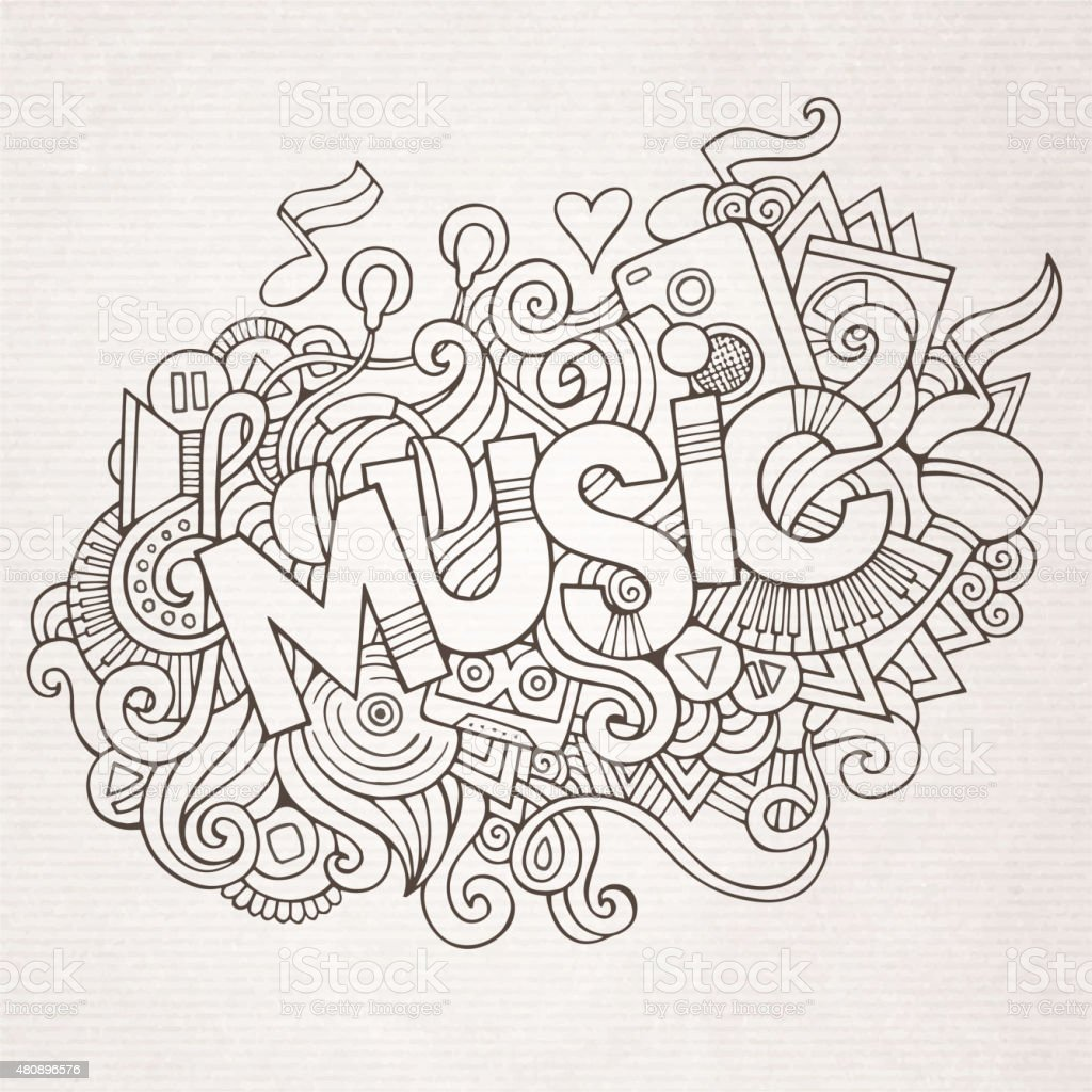 Stock vector music hand lettering and doodles elements - Music Hand Lettering And Doodles Elements Royalty Free Stock Vector Art
