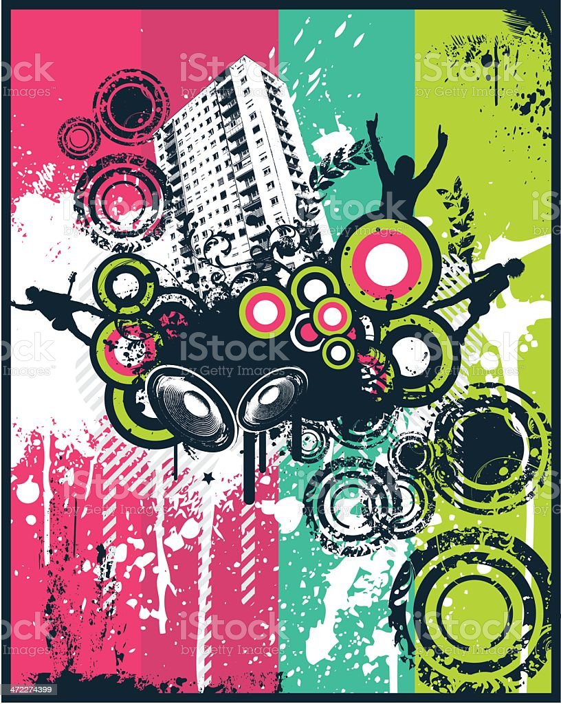 Music high rise block royalty-free stock vector art