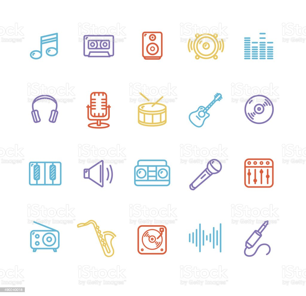 Music Icon Colorful Set. Vector vector art illustration