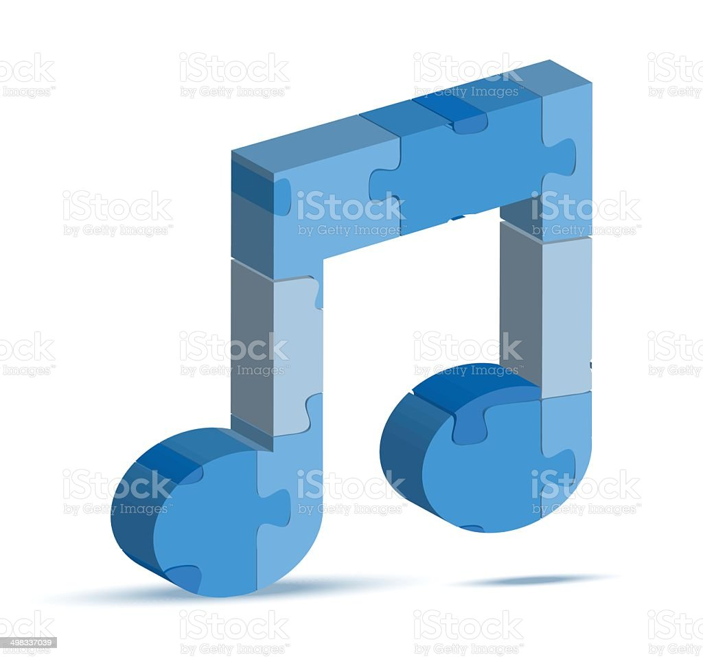 music icon in puzzle vector art illustration