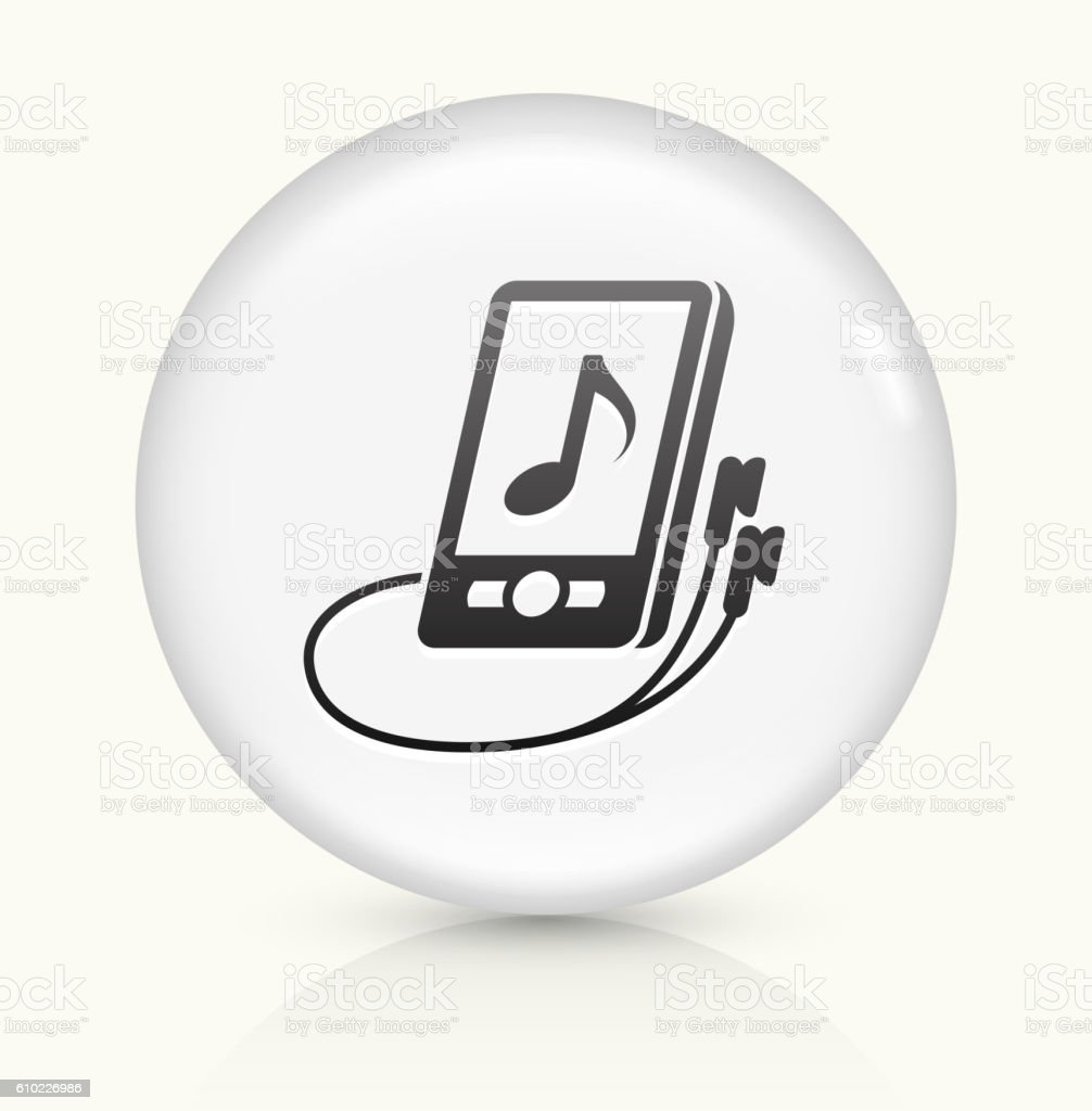 Music icon on white round vector button vector art illustration