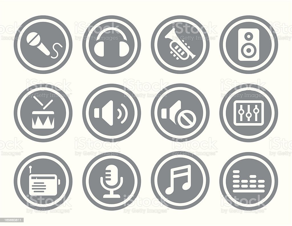 Music Icon Set vector art illustration