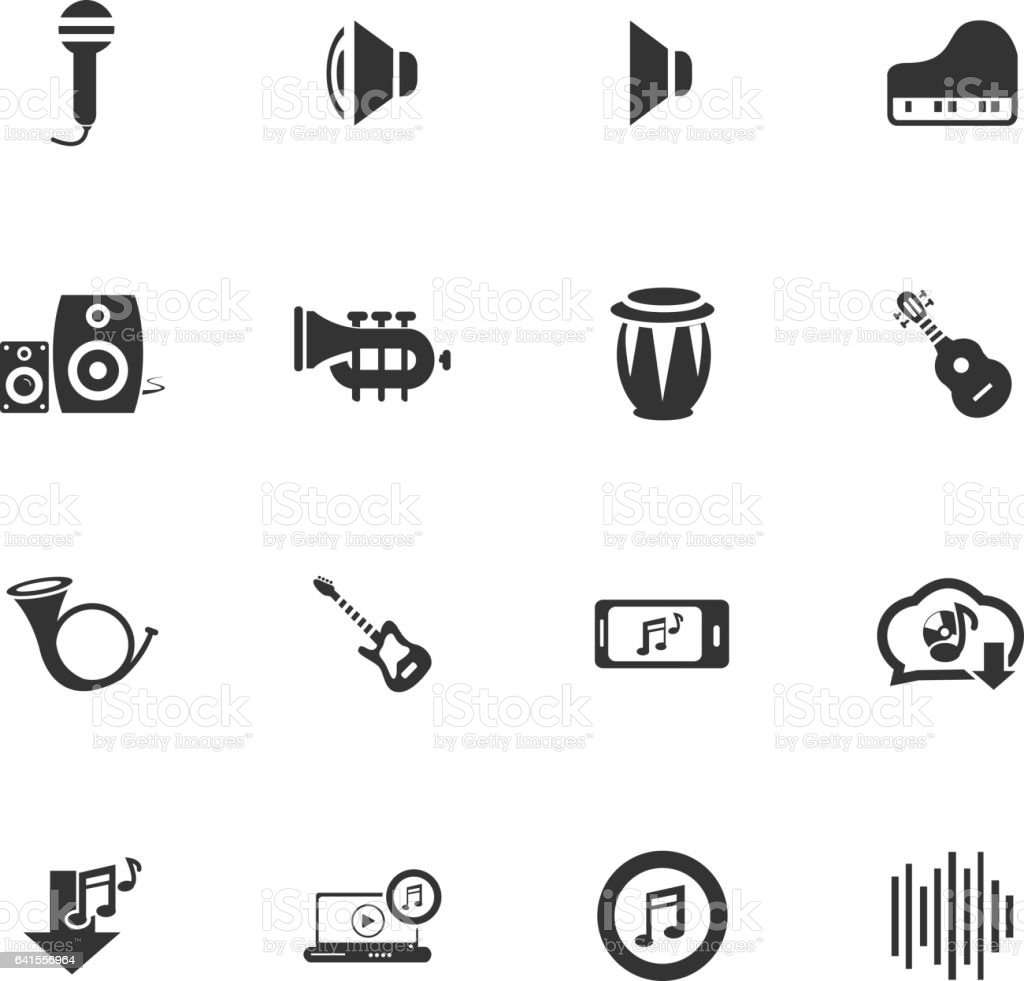 music icon set vector art illustration