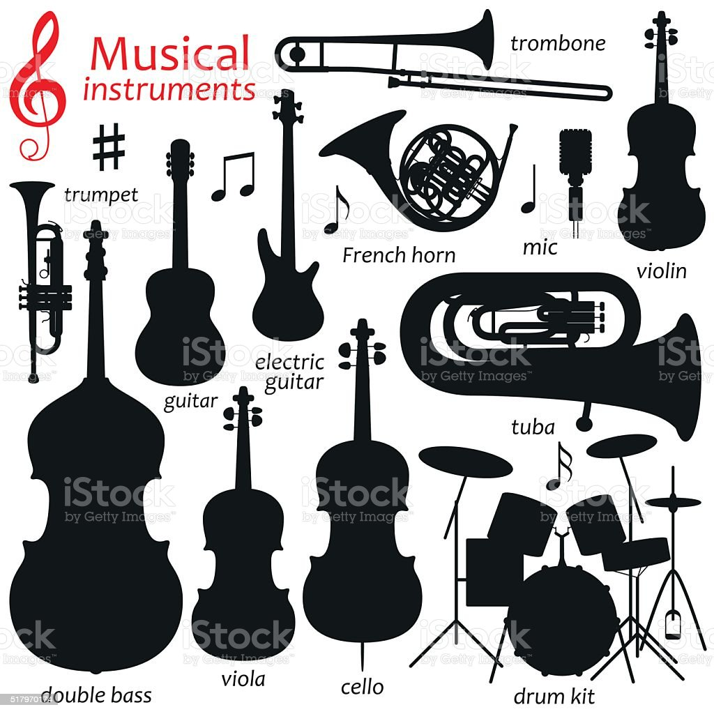 Music icon set.  Vector silhouette illustration vector art illustration