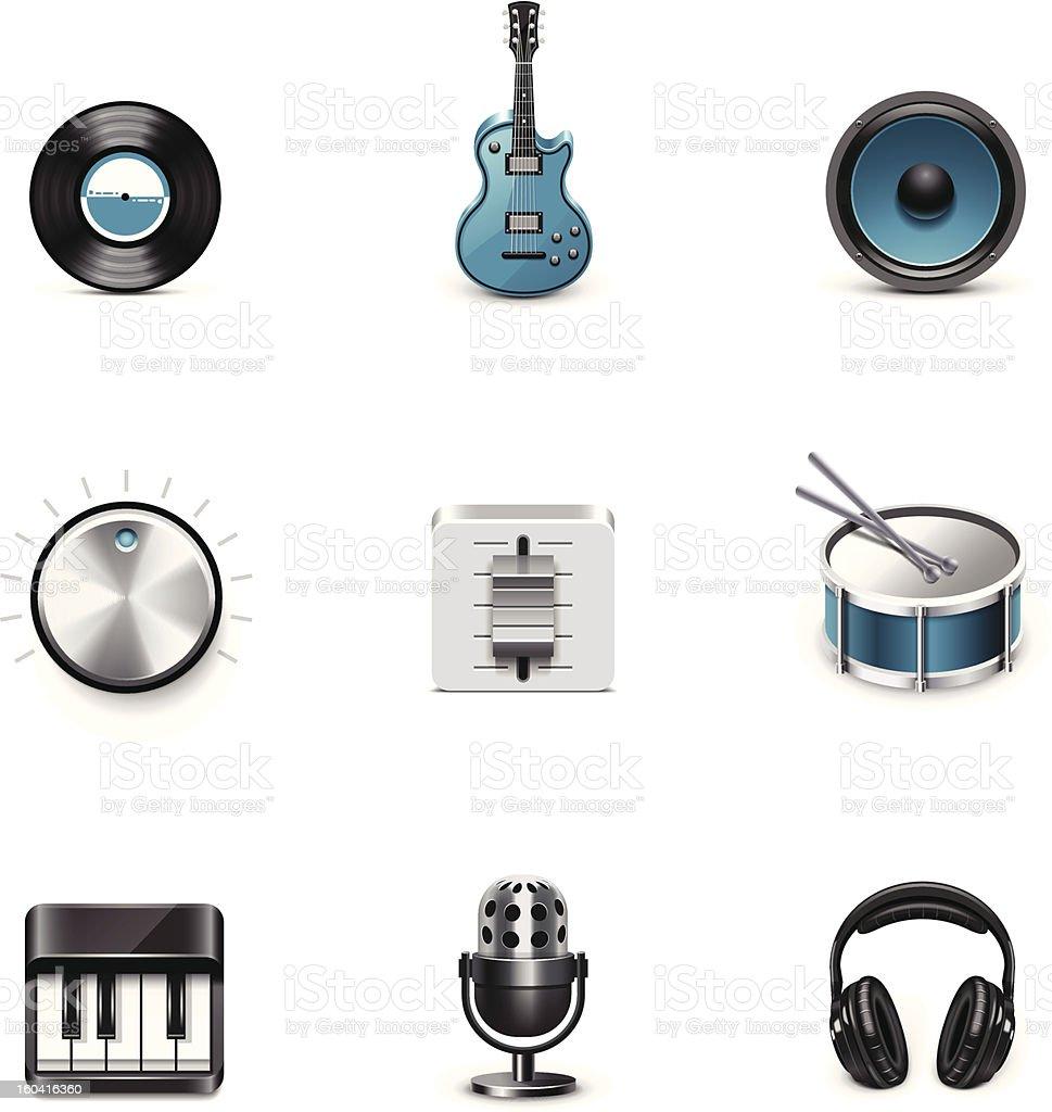 Music icons. Azzurro series royalty-free stock vector art