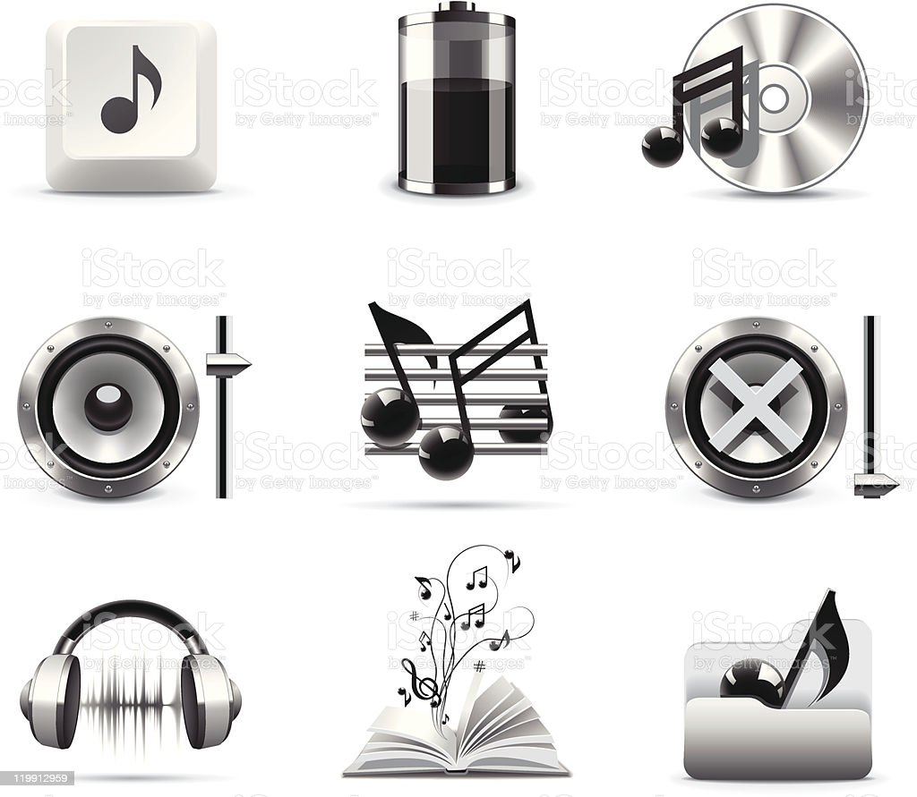 Music icons | B&W series royalty-free stock vector art