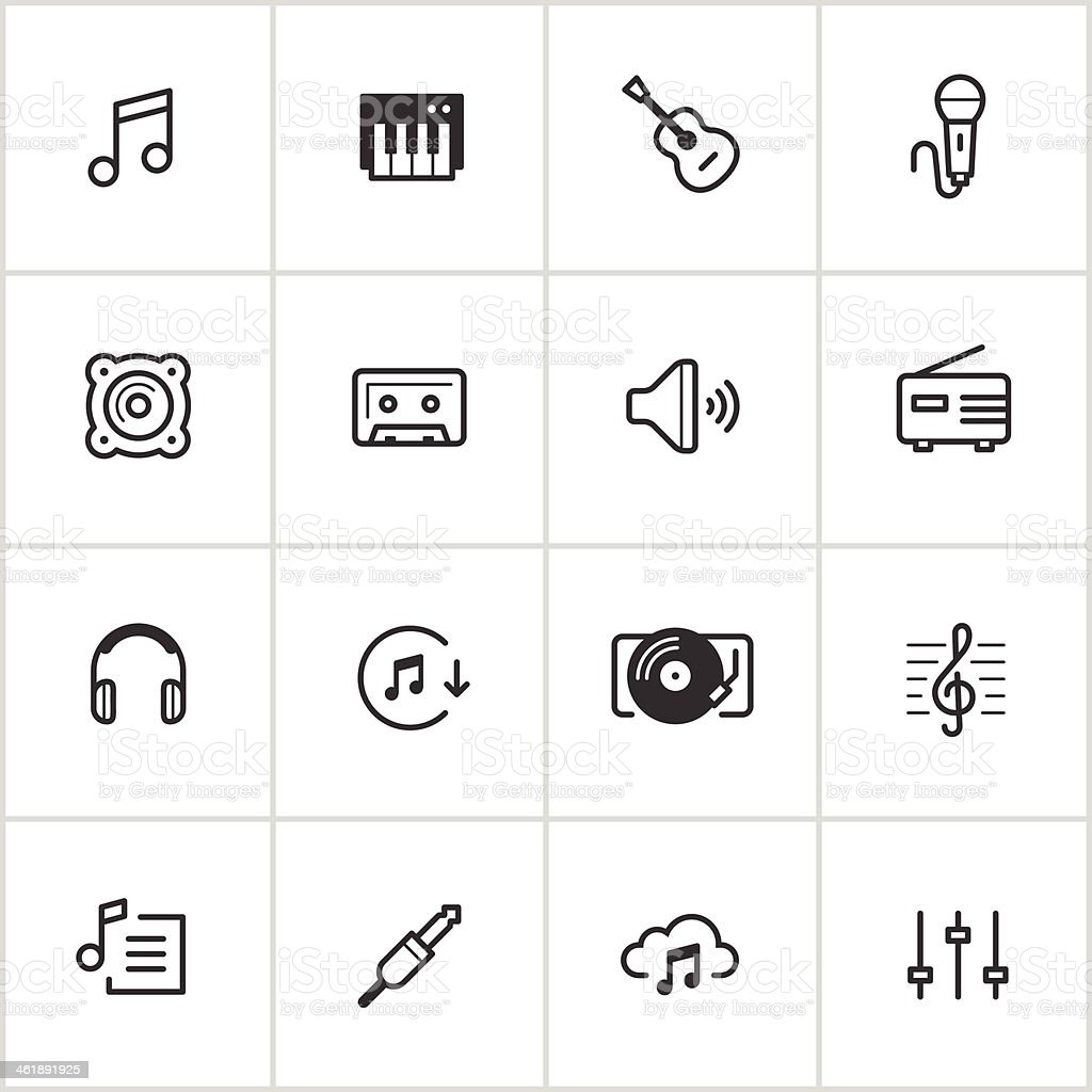 Music Icons — Inky Series vector art illustration