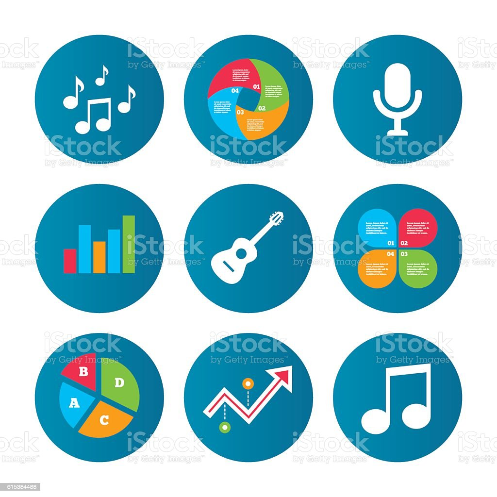 Music icons. Microphone, Acoustic guitar. vector art illustration
