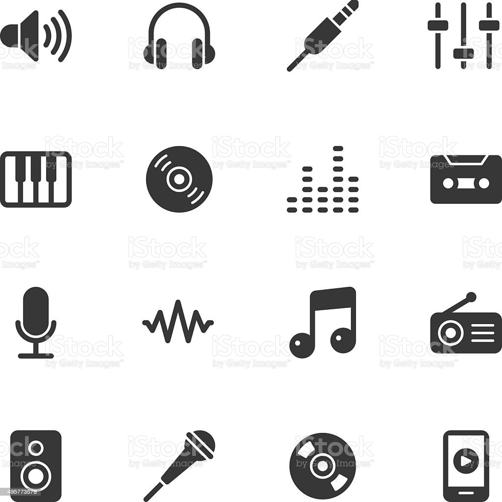Music icons - Regular vector art illustration