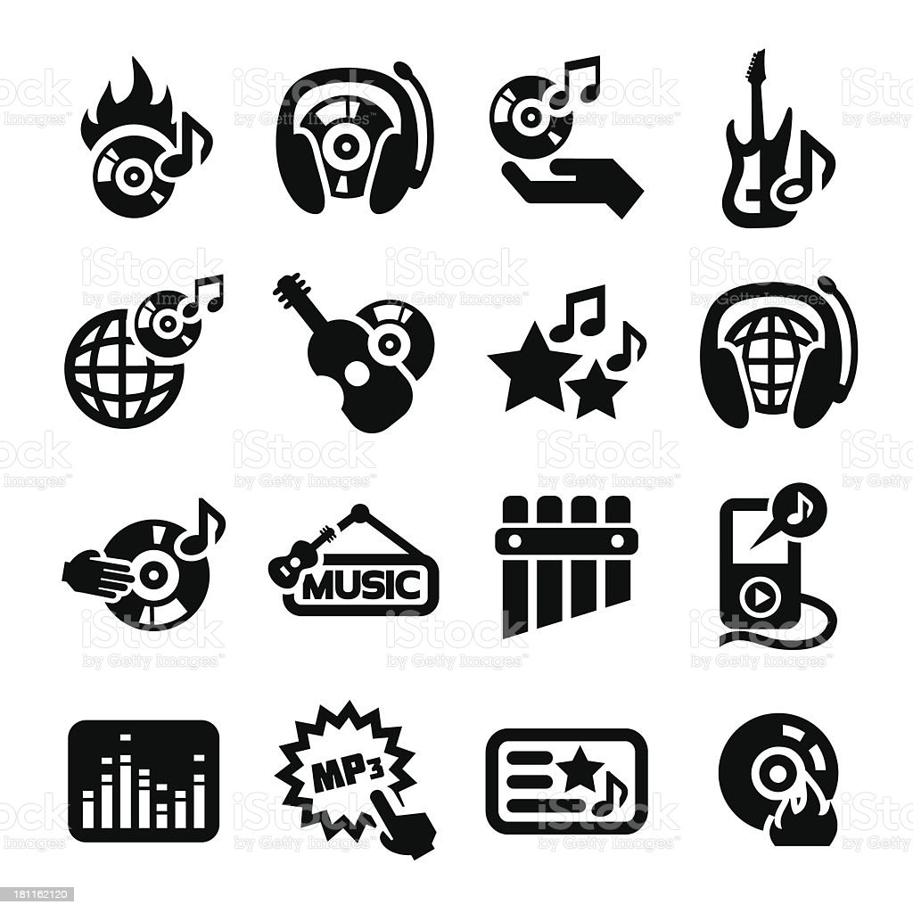 Music icons set. royalty-free stock vector art