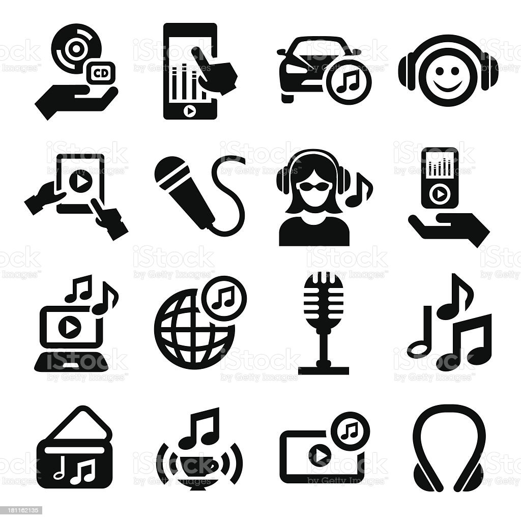 music icons set royalty-free stock vector art