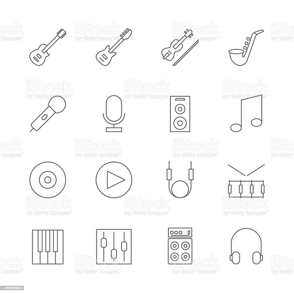 music icons set vector art illustration