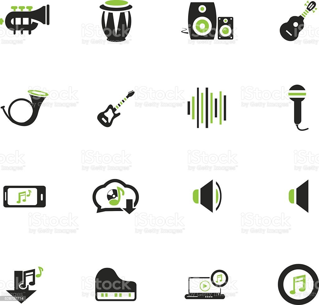 Music icons set vector art illustration