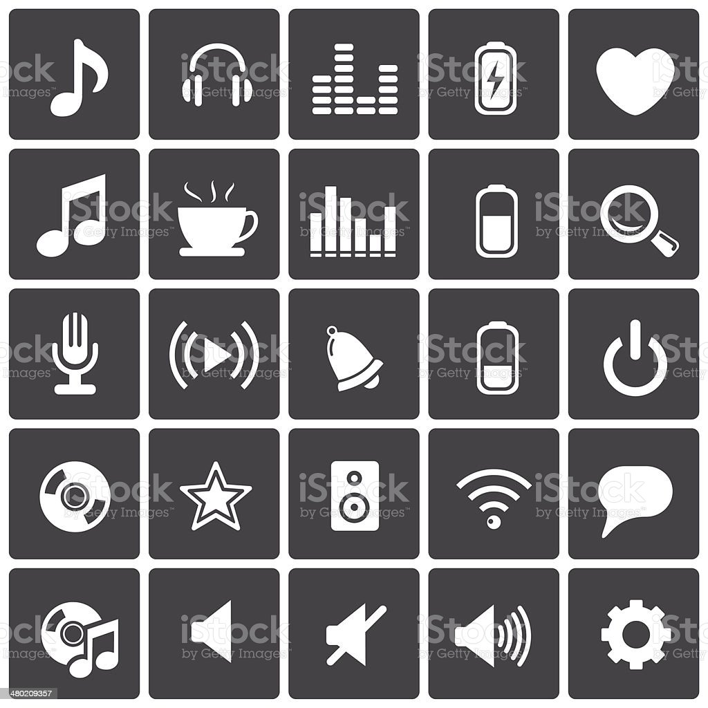 Music Icons & Simbols. vector art illustration