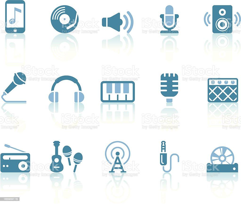 Music Icons   Simple Blue Series vector art illustration