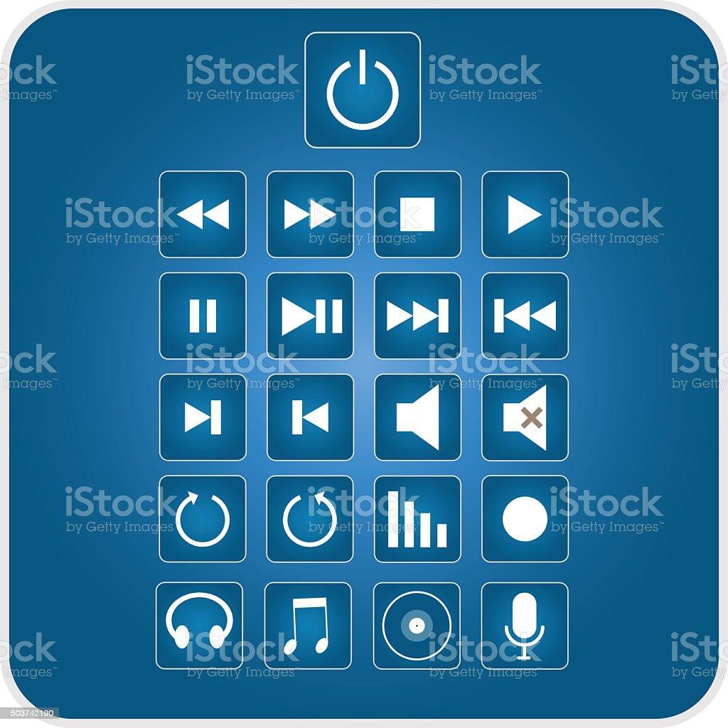 Music icons vector art illustration