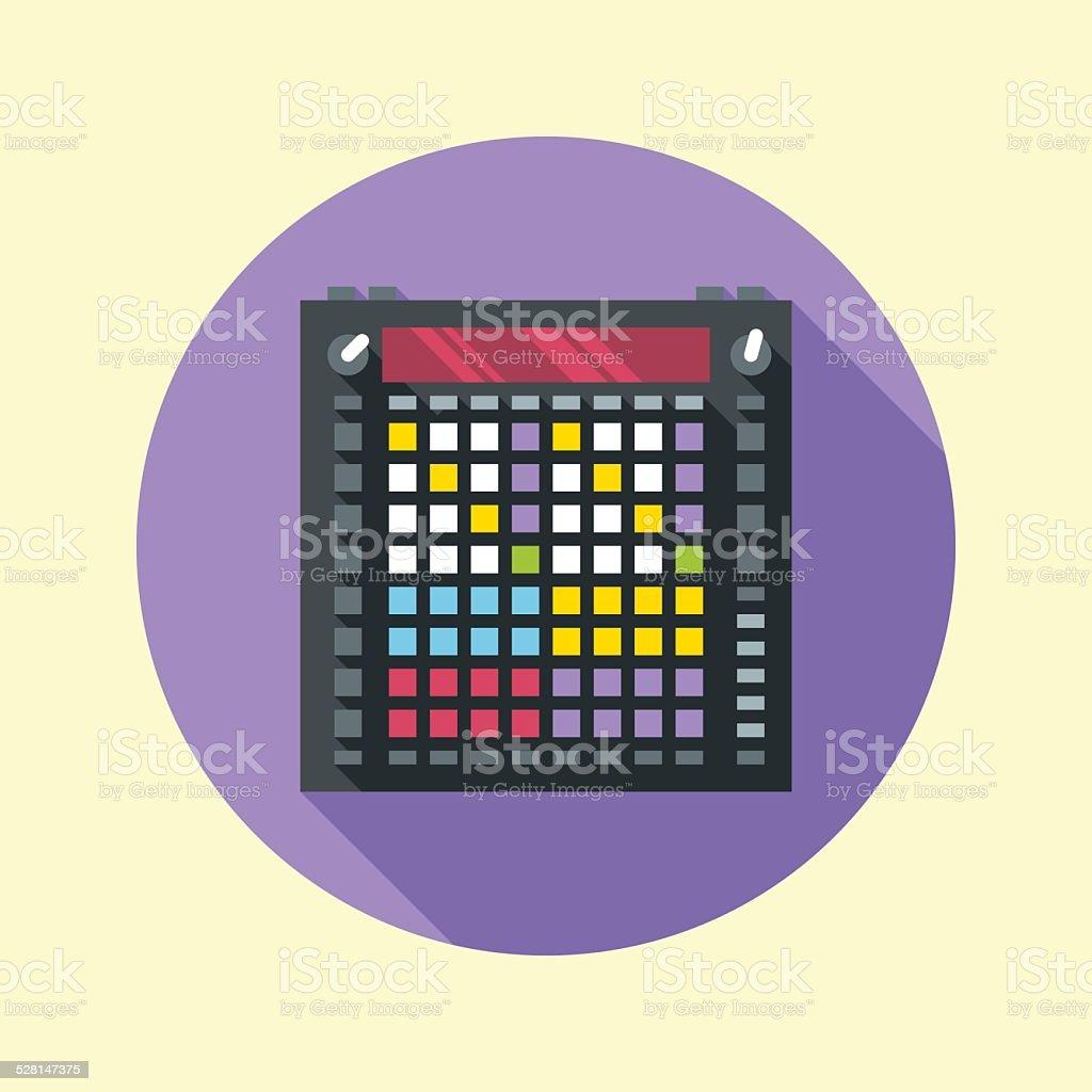 Music instrument midi controller. Flat design long shadow. Vector illustration. vector art illustration