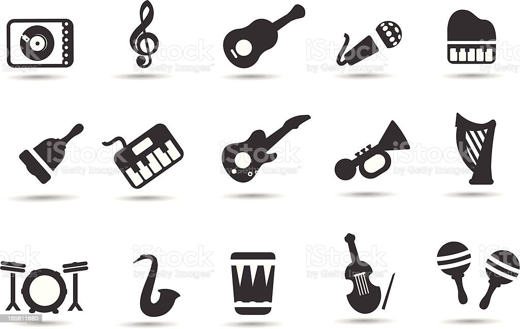 Music Instrument Symbols vector art illustration