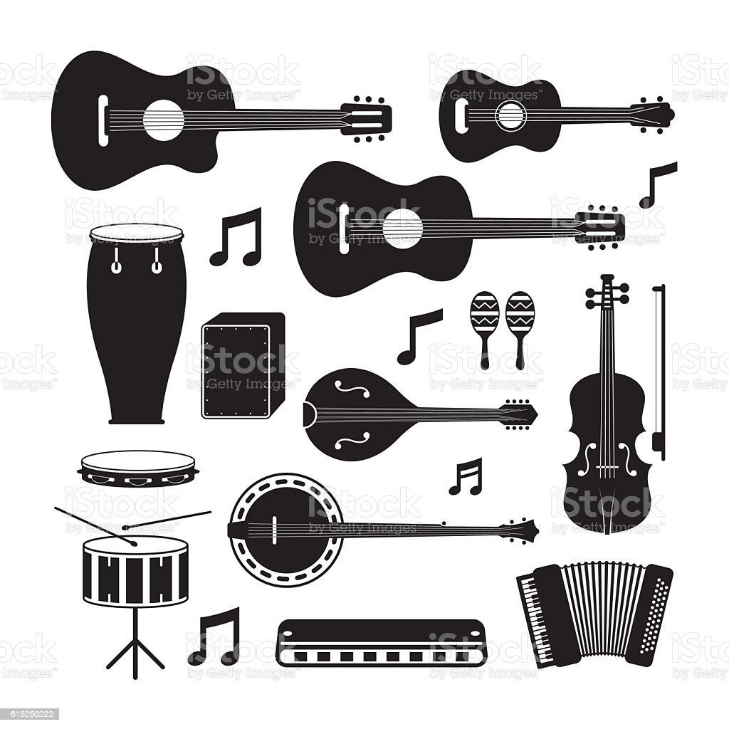 Music Instruments Acoustic Silhouette Objects Set vector art illustration