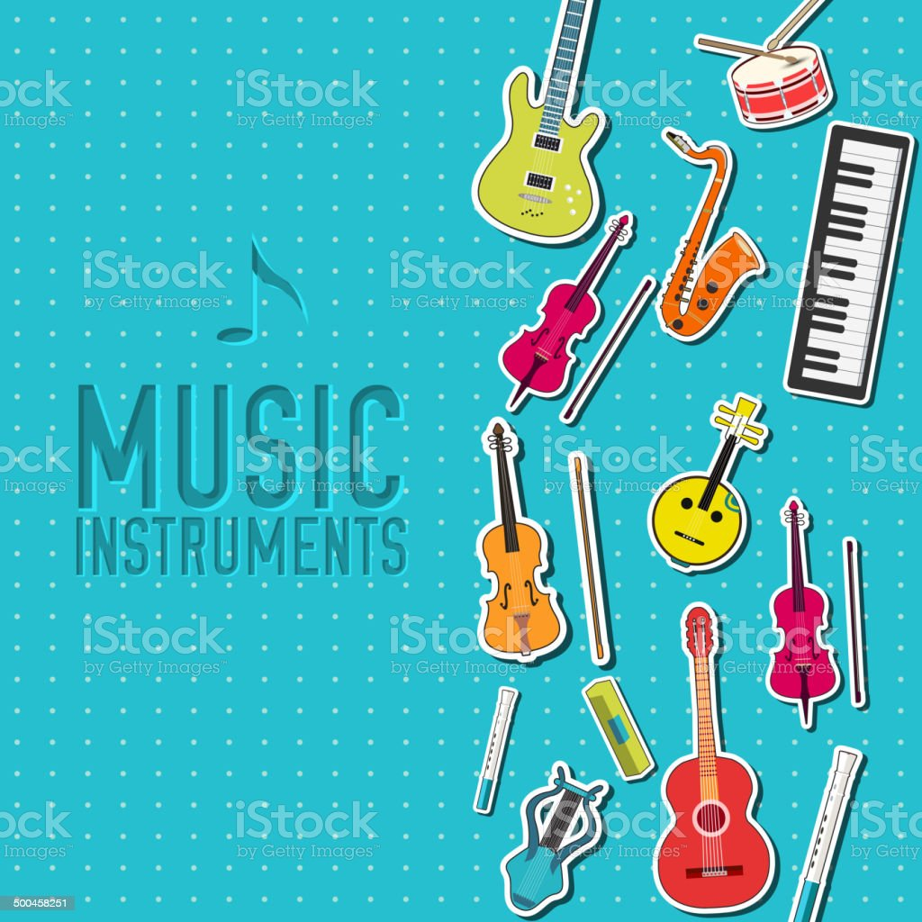 music instruments background in sticker style design vector art illustration