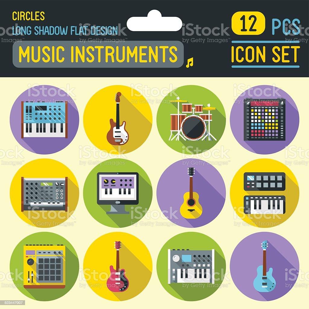Music instruments circle icon set. Vector trendy illustrations. vector art illustration