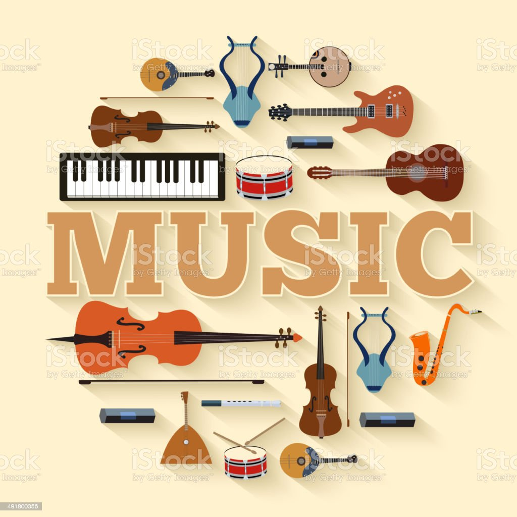 Music instruments circle infographics template concept. Icons design vector art illustration